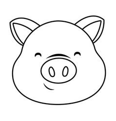 cute pig face cartoon vector image