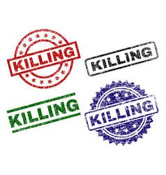 damaged textured killing stamp seals vector image