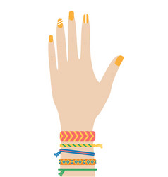 female hipster hand with baubles thread vector image