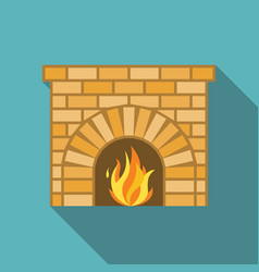 Fireplace with fire vector
