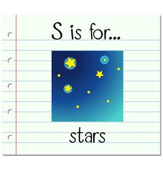 Flashcard letter s is for stars vector