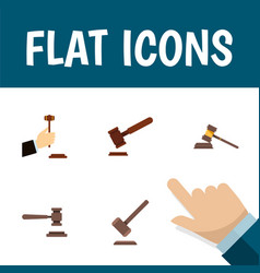 Flat icon hammer set of justice legal tribunal vector