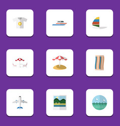 Flat icon season set of recliner ocean parasol vector