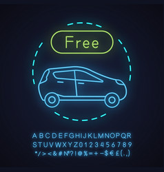 free parking neon light concept icon vector image