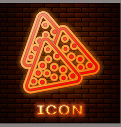 Glowing neon nachos icon isolated on brick wall vector