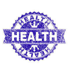 Grunge textured health stamp seal with ribbon vector