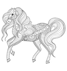 Hand drawn entangle horse for adult coloring page vector