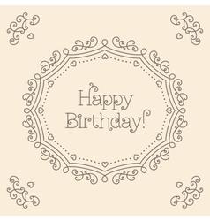 Happy Birthday card mono line art style Monogram vector image