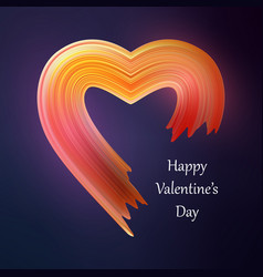 happy valentines heart liquid brush shape color vector image