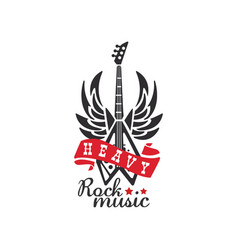 Heavy rock music logo emblem for rock band vector