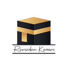 Holy kaaba ramadan kareem mubarak background vector