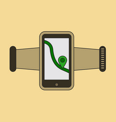 Icon in flat design smartphone for running vector