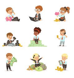 kids in financial business set of cute boys and vector image