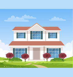 Large beautiful country house villa cottage vector