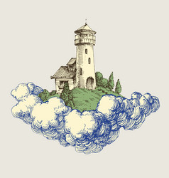lighthouse on a cloud in sky pencil drawing vector image