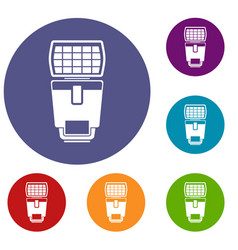 lighting flash for camera icons set vector image
