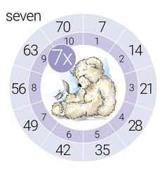 math multiplication circle with teddy bear vector image