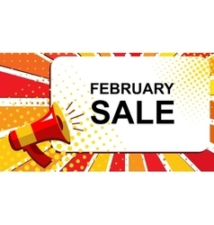 Megaphone with FEBRUARY SALE announcement Flat vector