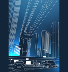 Modern urban cityscape with skyscrapers and cars vector