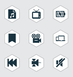 multimedia icons set with previous tv sound off vector image