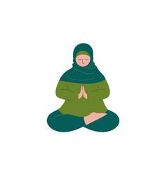 Muslim woman in hijab sitting with crossed feet vector