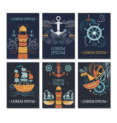 ollection of marine cards vector image