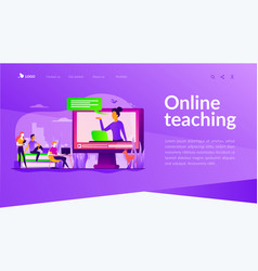 Online teaching landing page template vector