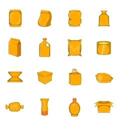 Packing icons set cartoon style vector image