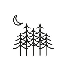 pine tree forest thin line icon symbol design vector image