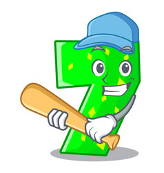 Playing baseball character paper cut number seven vector