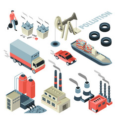 Pollution problem transport and factory garbage vector