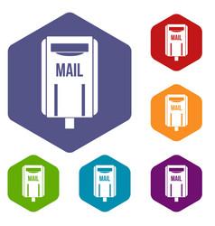 Post box icons set hexagon vector