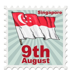 Post stamp of national day of Singapore vector