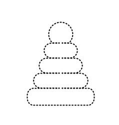 Pyramid sign black dashed vector