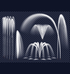 Realistic fountains on transparent background set vector