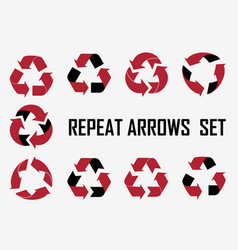 repeat arrows set icons collection vector image