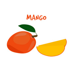 ripe yummy mango on a white backgroun vector image