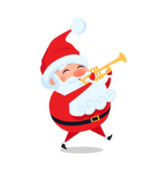 Santa playing on trumpet cute christmas father vector