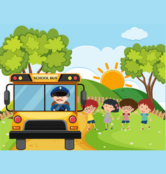 School bus with kids and driver on the hills vector