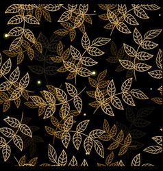 seamless pattern with golden leaves on a black vector image