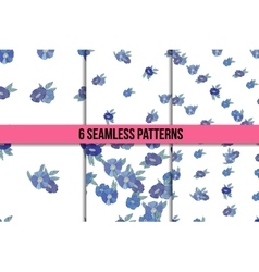 Set osix seamless patterns with blue flowers vector