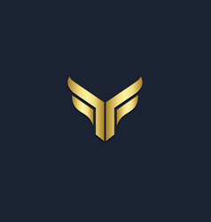shape t initial gold logo vector image