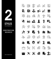 simple line icons construction business vector image