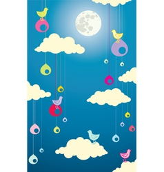 Sky bird moon vector