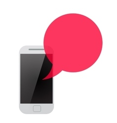 smartphone with red transparent speech bubble vector image
