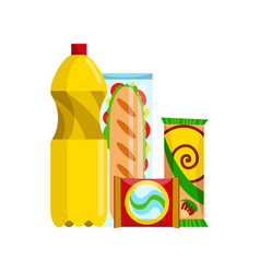 snack product set fast food snacks drinks vector image
