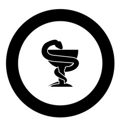 Snake and cup icon black color in circle vector