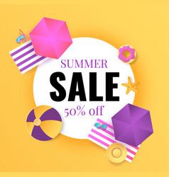 summer sale banner seasonal discount cartoon vector image