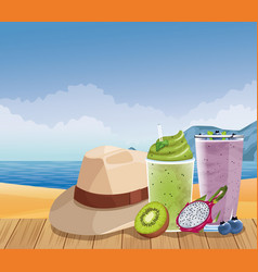 Summer vacations and beach cartoons vector