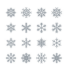 thin line snowflake icons vector image